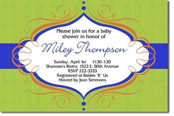 Swirls Baby Shower Invitations (Any Color Scheme)(additional designs)