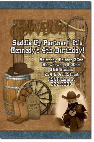 Cowboy Western Birthday Invitations (Download JPG Immediately)