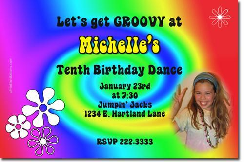 60's Tie Dye Groovy Birthday Invitations (add'l designs) *Download JPG