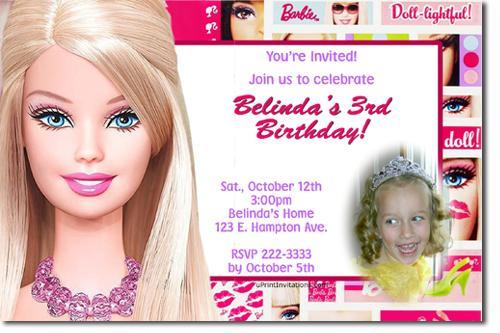 Barbie Birthday Invitations Click For