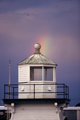 Port Clinton  Ohio Lighthouse  With  Rainbow Fine Art Photo