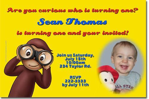 Curious George Birthday Invitations (Download JPG Immediately)