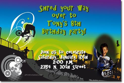 BMX Motorcross Birthday Invitations (Download JPG Immediately)