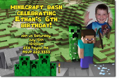 Minecraft Birthday Invitations (download jpg immediately)