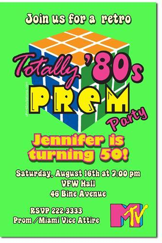 80s Prom Birthday Invitations (Download JPG Immediately)