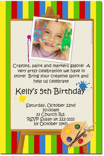Art Party Birthday Invitations (download jpg immediately)