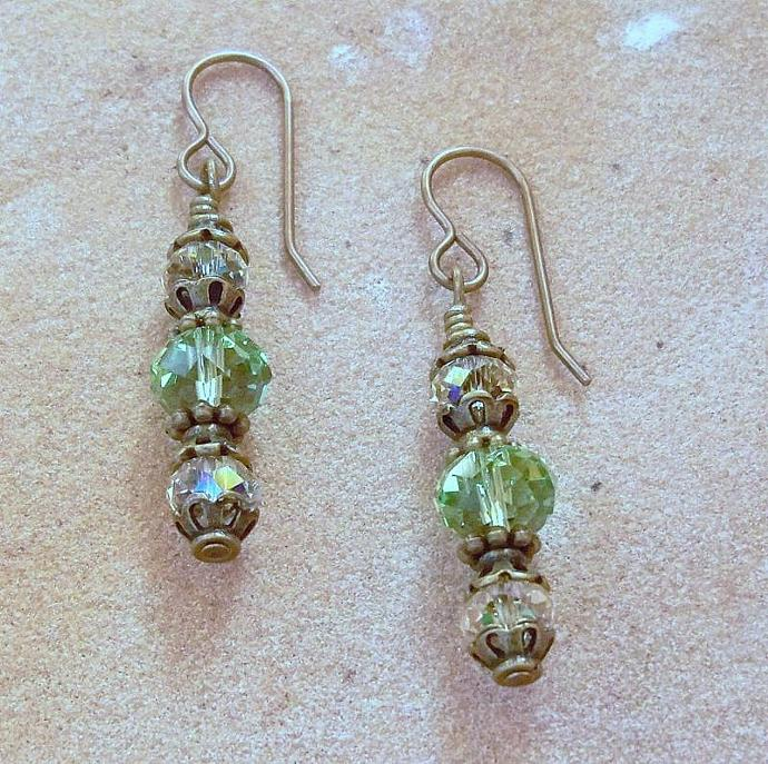 "Earrings - ""Peridot Green and Bronze"""