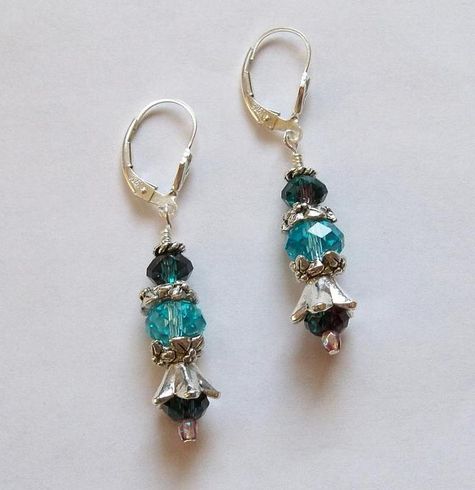 "Earrings - ""Burgundy and Blue"""