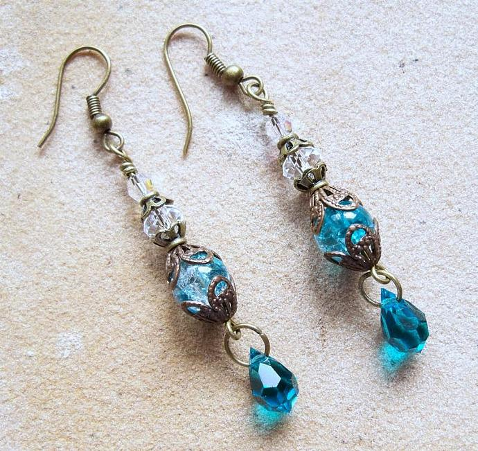 "Earrings - ""Blue Zircon Teardrops"""
