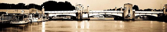 Port Clinton Drawbridge Panoramic in Black and White