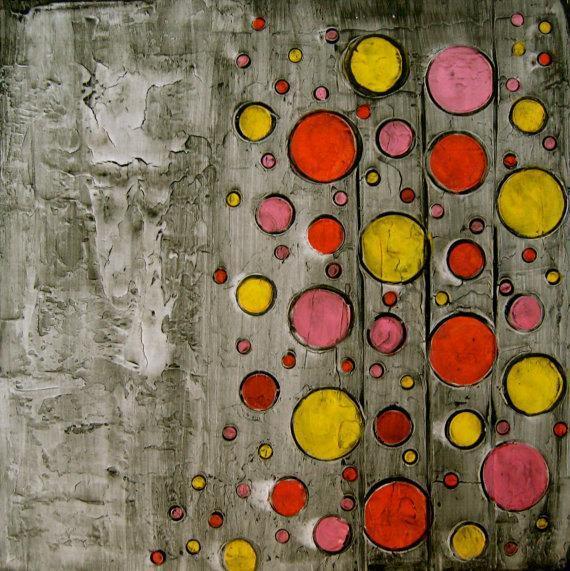 Abstract Acrylic Art Circles Impasto By