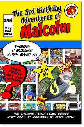 Superman Birthday Invitations (download JPG immediately)