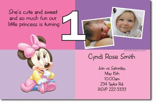 Baby Minnie Mouse Birthday Invitations Download JPG Immediately