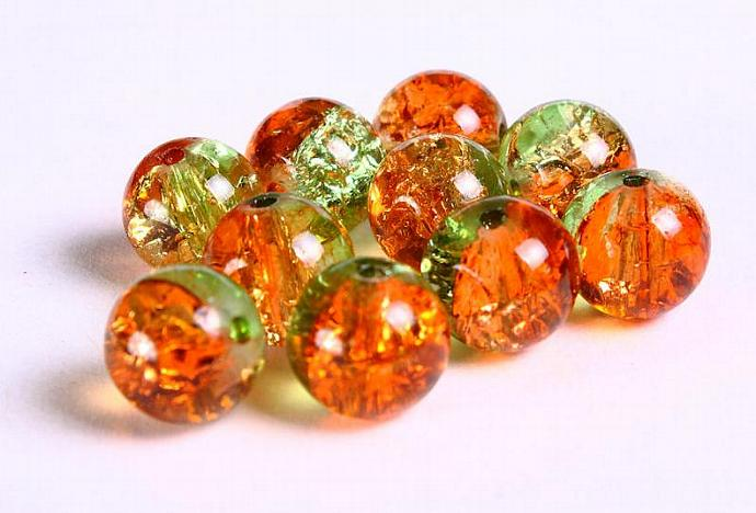 10pc 10mm mix color round crackle glass bead green orange (225)