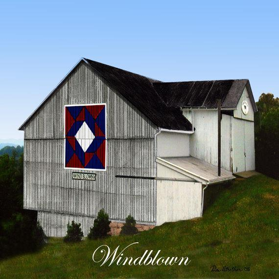 Quilt Barn 6 x 6 Tile with Windblown Pattern