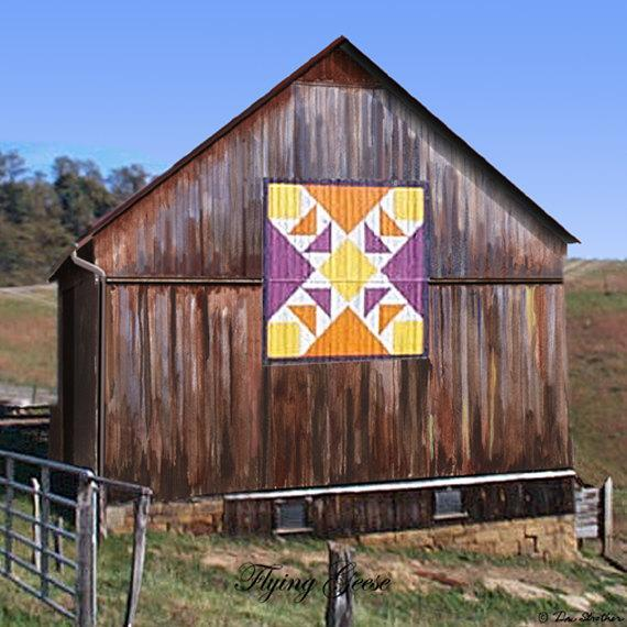 Flying Geese Quilt Barn Magnet