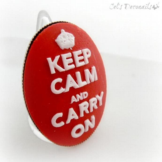 Keep Calm and Carry On cameo ring, adjustable ring