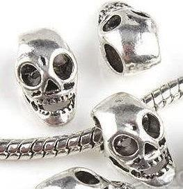 1 skull european charm beads for charm bracelets,antique silver, large hole