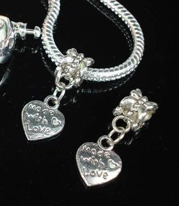 "1 Heart dangle charm for charm bracelets, antique silver ""made with love"""