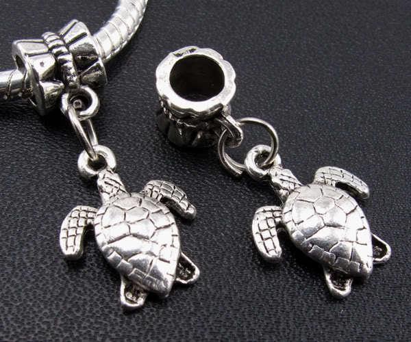 1 Turtle charm bead, european charm bead, charm bracelets, antique silver