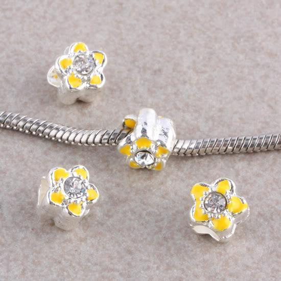 1 Yellow flower with rhinestone charm bead,european charm bead,charm