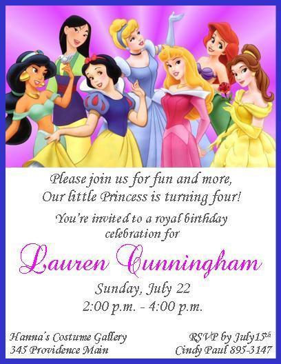 Disney Princesses Personalized Birthday Invitations
