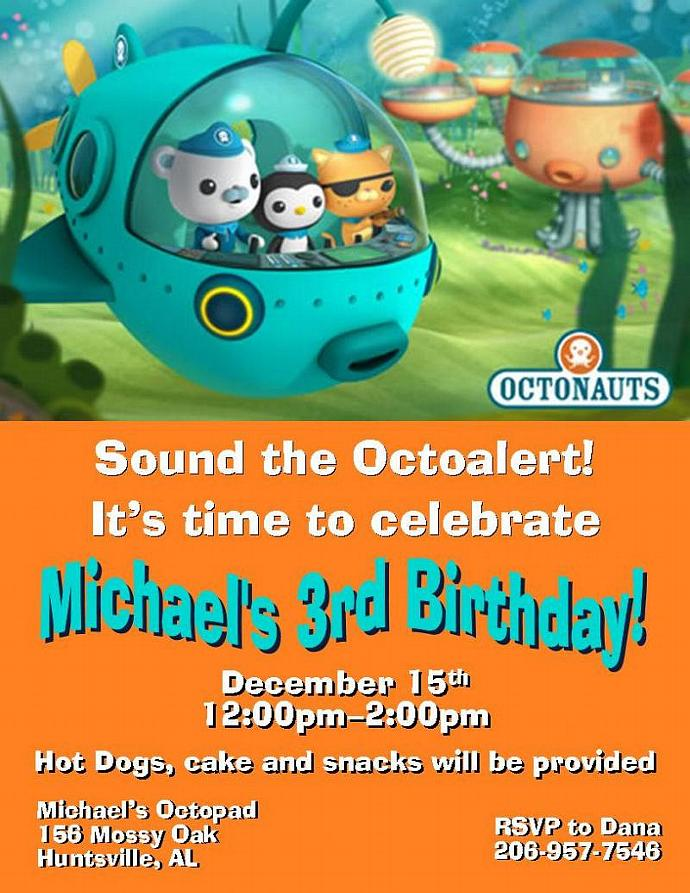Octonauts Personalized Invitations by thenotecardlady on Zibbet