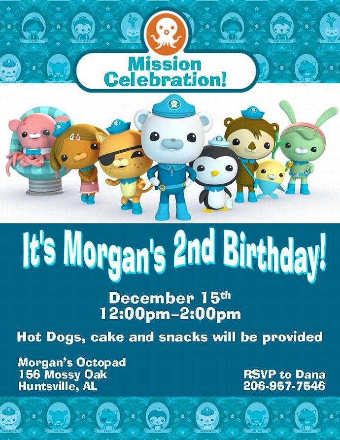 12 Printed Octonauts Birthday Invitations by thenotecardlady on Zibbet