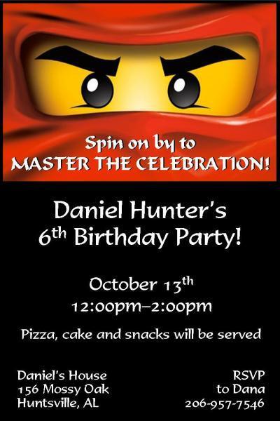 Custom Ninjago Birthday Invitations – Ninjago Birthday Invitations