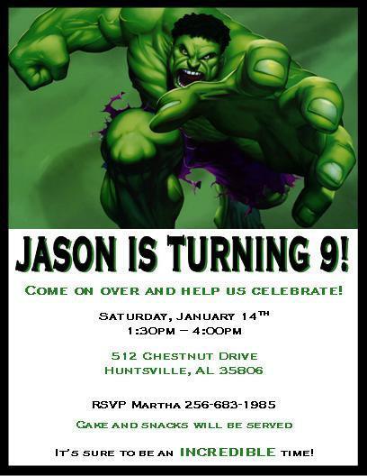 Incredible Hulk Invitations Southernsoulblog Com
