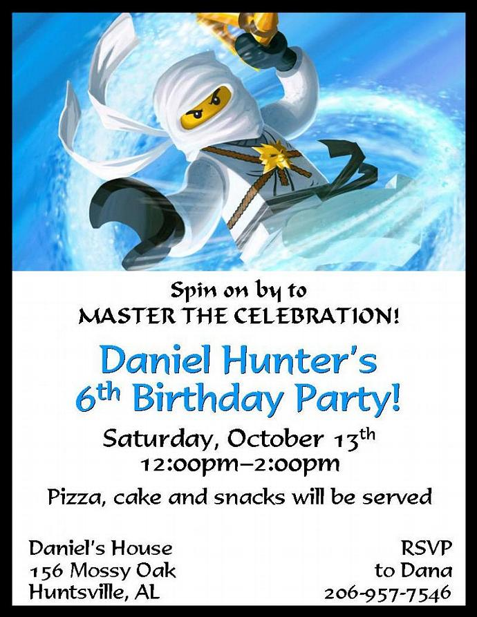 12 PRINTED Ninjago Personalized Birthday Invitations