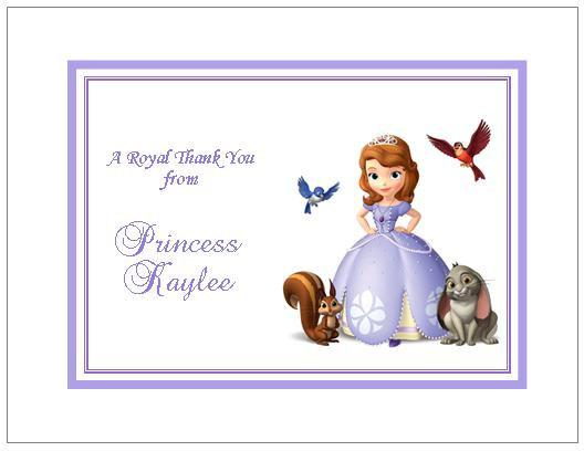 12 Printed Sofia The First Note Or Thank By Thenotecardlady On Zibbet
