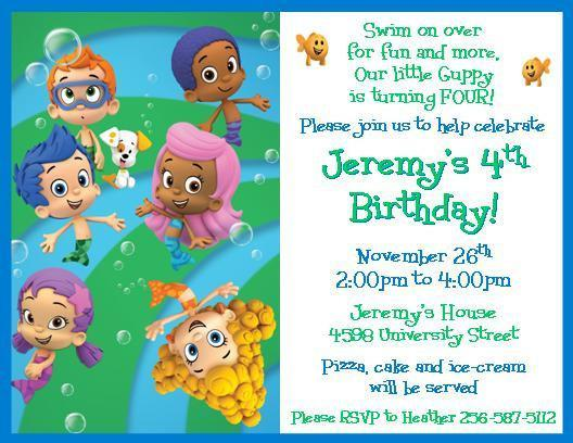 12 PRINTED Bubble Guppies Personalized Birthday Invitations