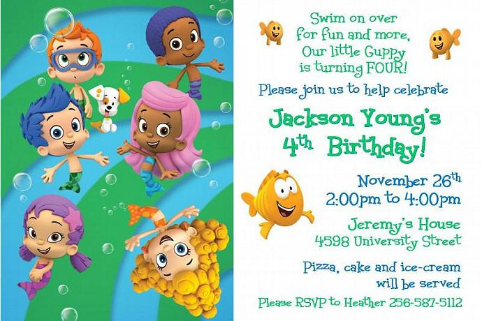 Bubble Guppies Birthday Invitation Digital File Only