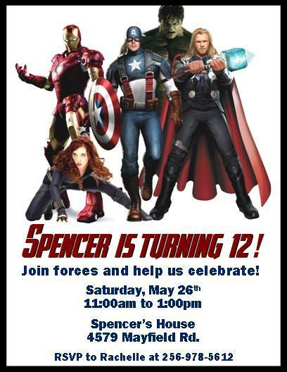 The Avengers Personalized Birthday Invitations