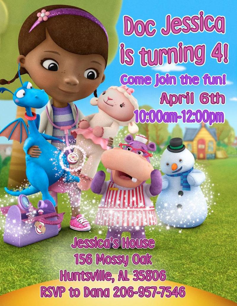 Doc McStuffins Personalized Invitations By Thenotecardlady On Zibbet