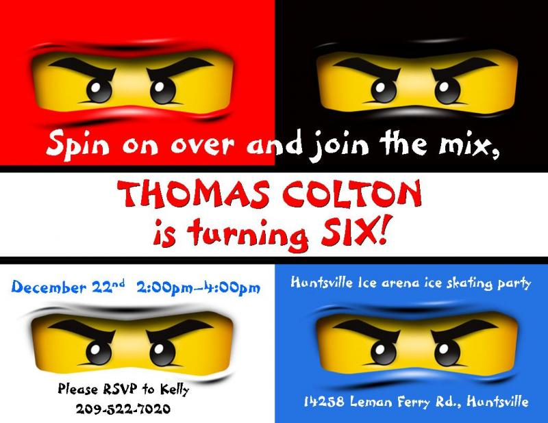 Custom Ninjago Birthday Invitations by thenotecardlady on Zibbet