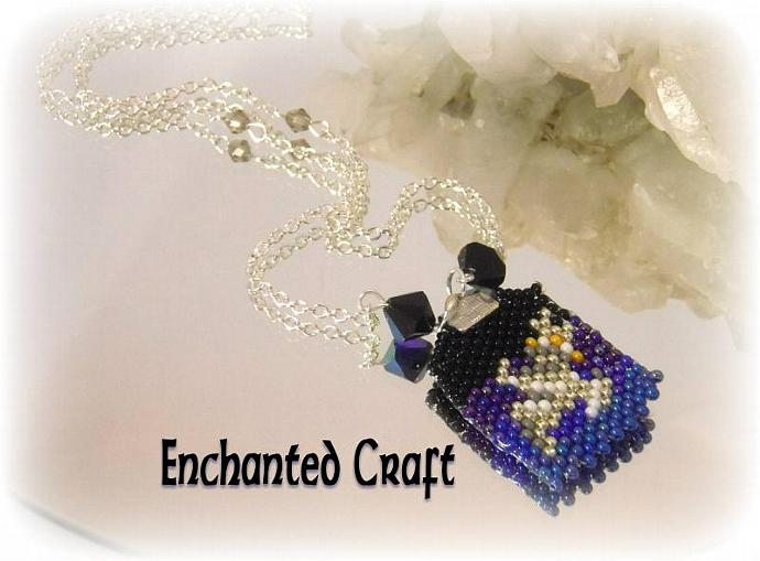 Firefly Serenity beaded pendant, blue and black
