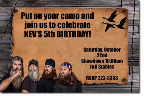 Duck Dynasty Birthday Invitations (download JPG immediately)