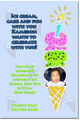 Ice Cream Birthday Invitations *ANY COLOR SCHEME* (download JPG immediately)