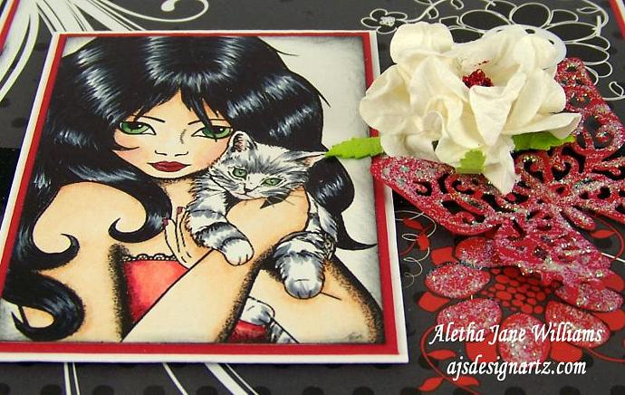 Purr-fection OOAK Handmade Greeting Card