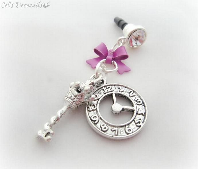 Gothic clock and key phone dust plug charm,  earphone jack charm, smartphone