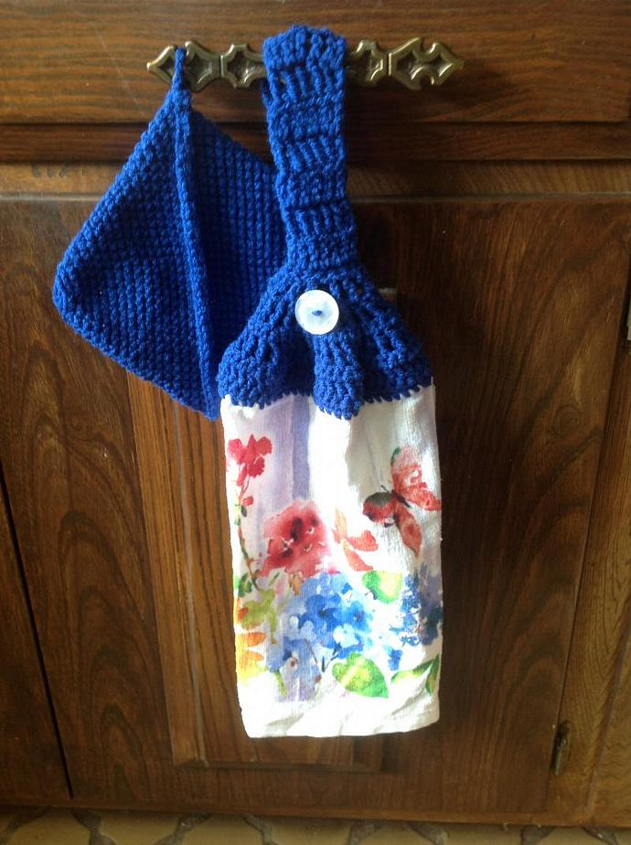 BLUE POT HOLDER WITH TOWEL    500-006