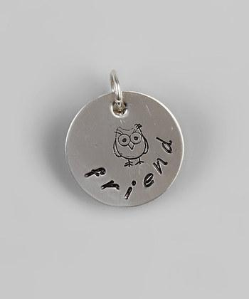 """Friend"" Pendant - 5/8"" Sterling Silver - Hand Stamped Jewelry, Personalized"