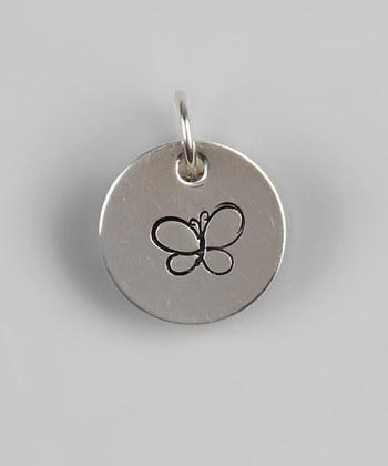 "1/2"" Sterling Silver Butterfly Pendant - Hand Stamped"