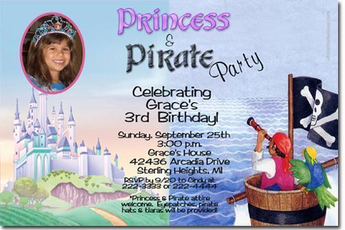 Princess And Pirate Birthday Invitations Download JPG Immediately