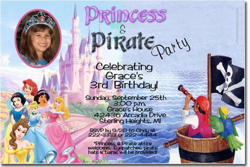 Princess and Pirate Birthday Invitations (Download JPG Immediately)