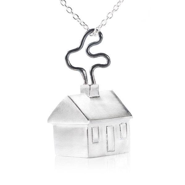 Home (house) Silver Pendant - Liat Waldman