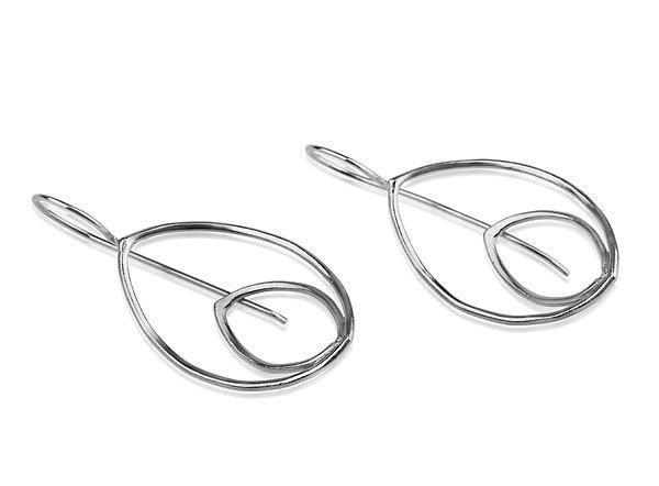 Hanging Leaf Earring Silver 925 - Liat Waldman