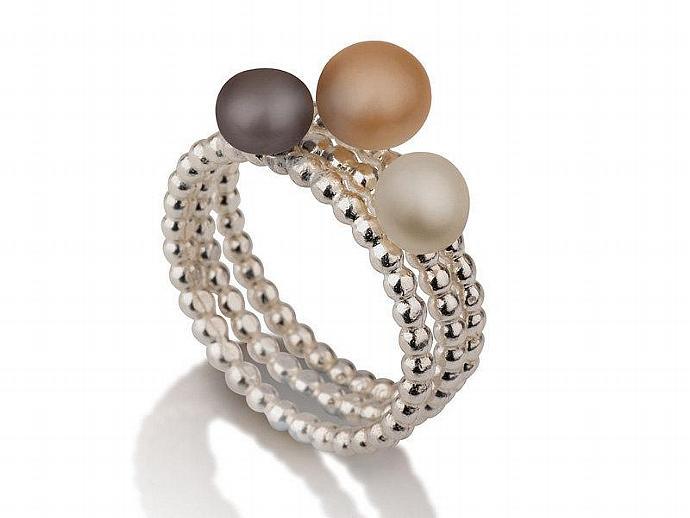 3 Pearl Silver Ring for woman - Liat Waldman